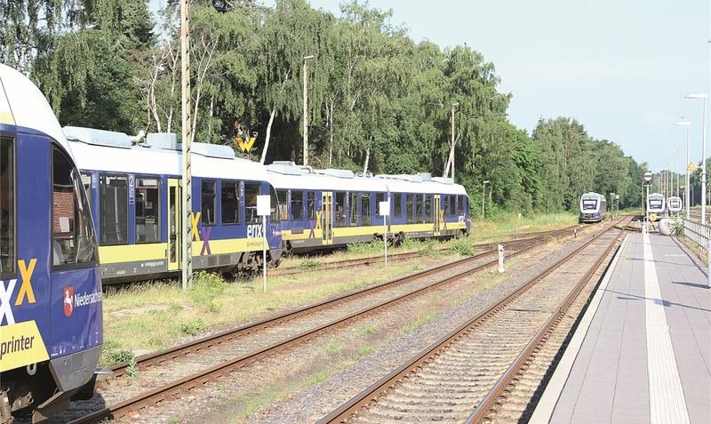 """Noch bis Dezember 2021 bleiben die Erixx-Züge ein gewohnter Anblick in der Region - dann übernimmt die DB Regio AG den Betrieb auf dem """"Heidekreuz"""". Foto: Archiv/Meyland"""